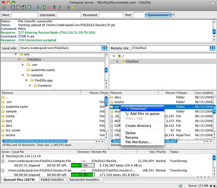 Бесплатная программа FTP клиент FileZilla